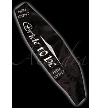 Bride to Be Sash - Black Satin and Diamante