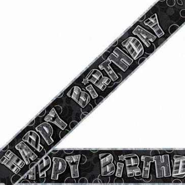 Glitzy Black/Silver Happy Birthday Foil Banner
