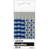 Blue Polka Dot & Stripe Candles (12)