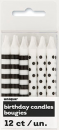 Black Polka Dot & Striped Candles (12)