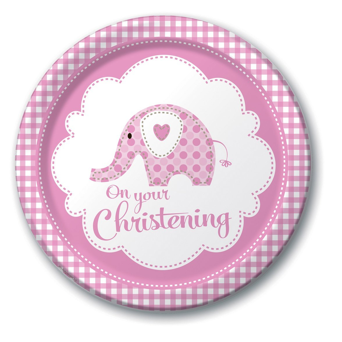 Sweet Baby Elephant Pink Christening Paper Plates Pk 8