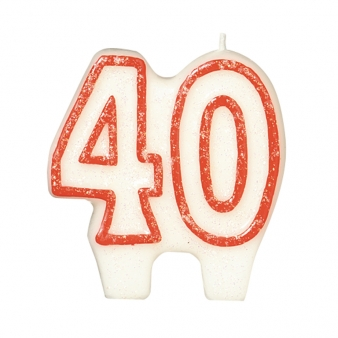 40th Red Glitter Candle