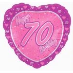 "70th 18"" Pink Heart Foil Balloon"