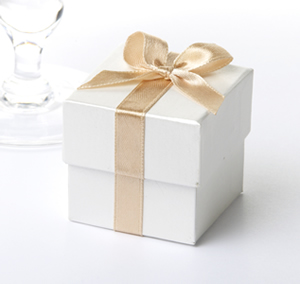Ivory Favour Box with Gold Ribbon (10)