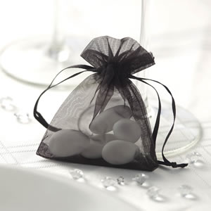 Black Organza Favour Bag (10)