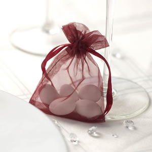 Burgundy Organza Favour Bag (10)