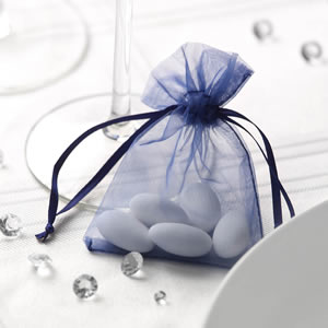 Navy Blue Organza Favour Bag (10)
