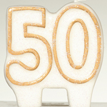 50th Gold Glitter Candle