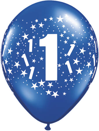 1st Birthday Latex Balloons Mixed Colours (10)