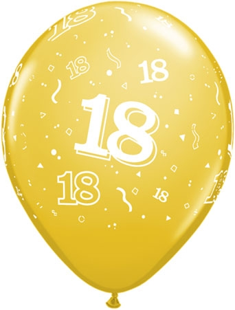 18th Birthday Latex Balloons (10) Mixed Colours