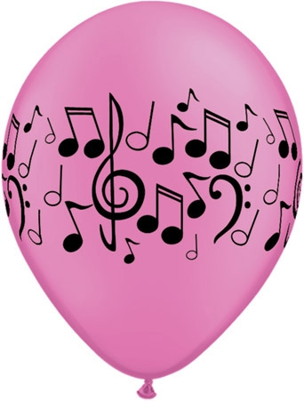 "Music Notes 11"" Latex Balloons  (10) Mixed Colours."