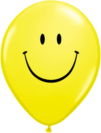 "Smiley Face 11"" Yellow Latex Balloons"