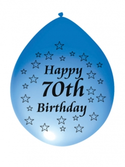 Happy 70th Birthday Airfill Latex Balloons