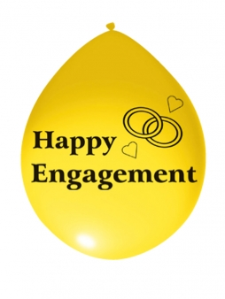 Happy Engagement Airfill Latex Balloons Pk 10 Mixed Colours