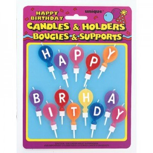 Balloon Shape Coloured Candles - Bappy Birthday