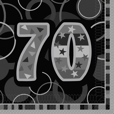 70th Glitzy Black/Silver Lunch Napkin (16)
