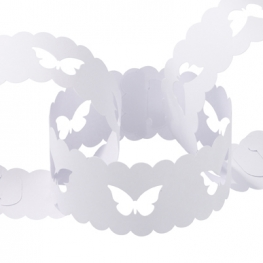 Butterfly Paper Chain White (50)