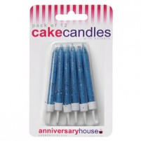 Blue Glitter Candle with Holders (12)