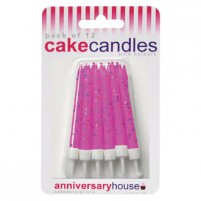 Fuchsia Glitter Candles with Holder