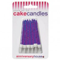Purple Glitter Candle with Holders (12)