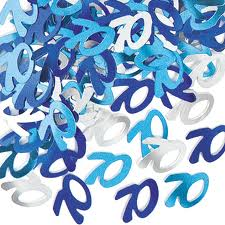 70th Blue/Silver Metallic Confetti