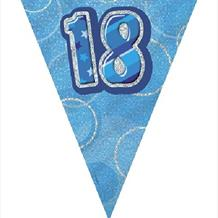 Glitzy Blue/Silver Happy Birthday Pennant Bunting