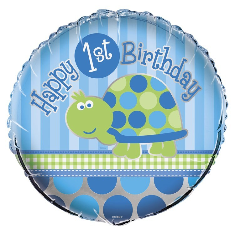 Happy 1st Birthday Turtle Foil Balloon 18""