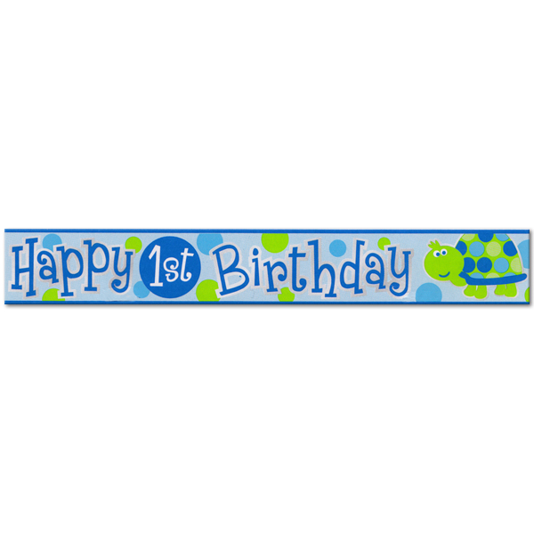 Happy 1st Birthday Turtle Foil Banner