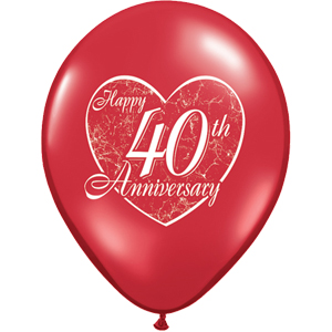 "40th Anniversary Script Ruby Red 11"" Latex Balloons (10)"