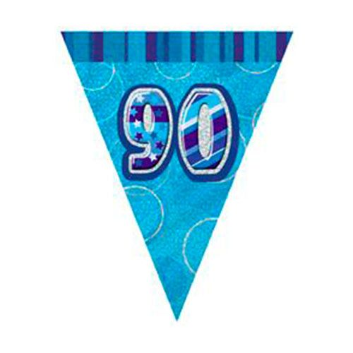 Glitzy 90th Birthday Blue Bunting