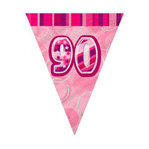 Glitzy 90th Birthday Pink Bunting
