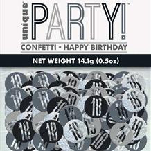 18th Black/Silver Metallic Confetti