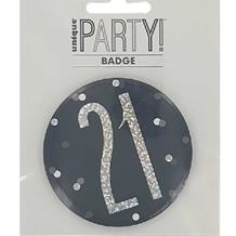 Black Glitz 21st Badge
