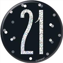 Black Glitz 21st Foil Balloon