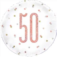 "Rose Gold Glitz 50th Birthday 18"" Foil Balloon"
