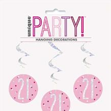 Pink Glitz 21st Hanging Decorations