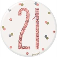 Rose Gold 21st Badge