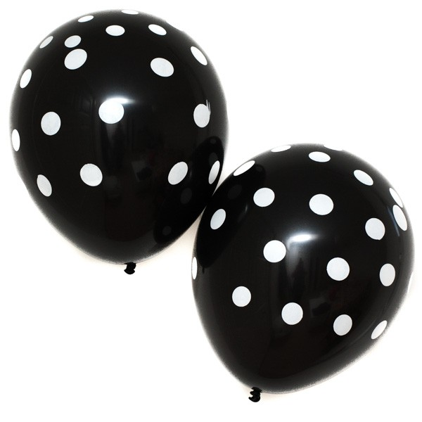 Black Polka Dot Latex Balloons (6)