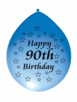 90th Birthday Airfill  Latex Balloon Pk 10 Mixed Colours
