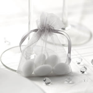 Silver Organza Favour Bag (10)