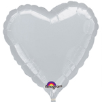 "18"" Metallic Silver Heart Foil Balloon"