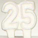 25th Silver Glitter Candle