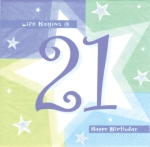 21st Birthday Shimmer Napkins (16 Pack)