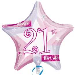 Pink 21st Birthday Shimmer Balloon