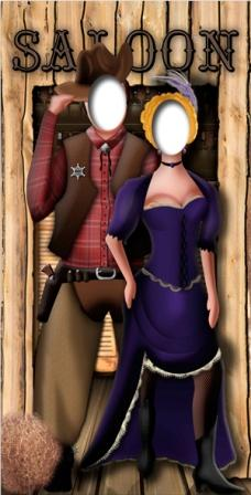 Wild West Couple Stand In Life Size Cardboard Cutout