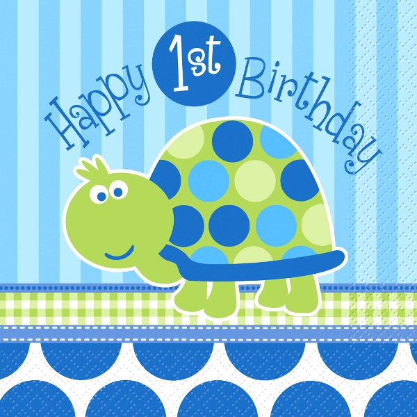 Happy 1st Birthday Turtle Lunch Napkins(16)