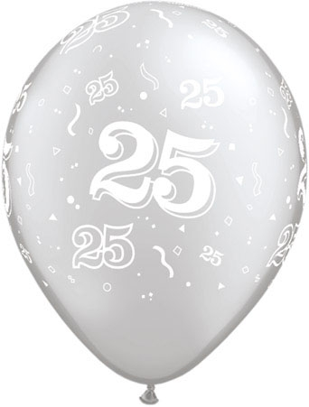 "25th Anniversary/Birthday Silver 11"" Latex Balloon (10)"
