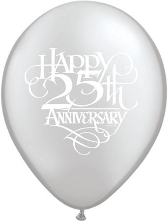 "25th Anniversary Script Silver 11"" Latex Balloons (10)"