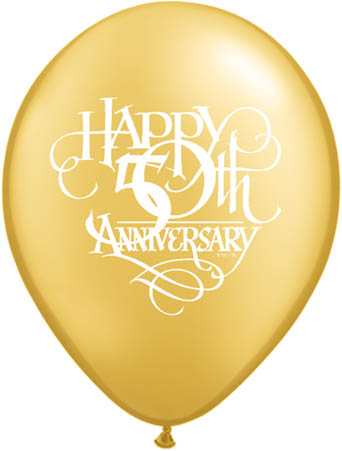 "50th Anniversary Script 11"" Latex Balloons (10)"