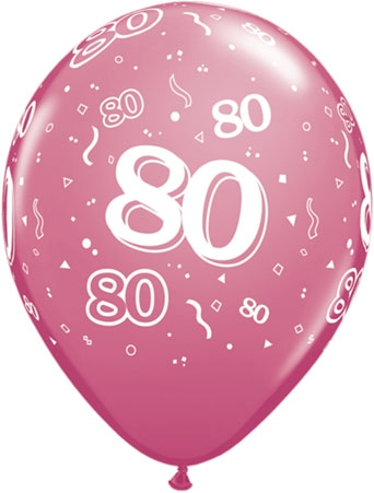 "80th Birthday 11"" Latex Balloons (10)"